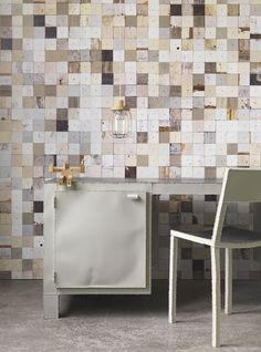 Dutch designer Piet Hein Eek has produced a wallpaper collection that replicates weathered wood textures
