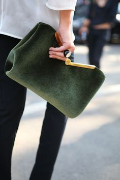 moss green velvet clutch + globe ring
