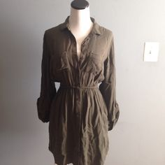 Urban Outfitters bdg army green shirt dress Worn once. Super cute Urban Outfitters Dresses Long Sleeve