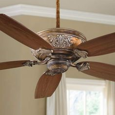 Classic form and rich finishes combine in the Minka Aire Classica ceiling fan. Style # at Lamps Plus. Lantern Ceiling Lights, Chandelier Lighting, Chandeliers, Traditional Ceiling Fans, Ceiling Fan Makeover, Classic Ceiling, Home Ceiling, Bedroom Ceiling, Fan Lamp