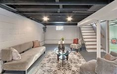 the Best Ideas for Diy Basement Ideas . Diy Basement Remode…You can find Unfinished basements and more on our website. the Best Ideas fo. Low Ceiling Basement, Basement Makeover, Basement Stairs, Basement Bathroom, Basement Office, Basement House, Flooring For Basement, Basement Sauna, Organized Basement