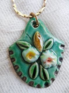 Unusual Vintage CLAY Pendant Necklace with FLOWERS Teal, Green, Yellow Take a Peek via Orphaned Treasures Etsy