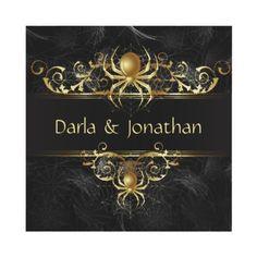 Golden spiders elegantly hang on these elegant dark Halloween wedding invitations.  Work well for a Gothic wedding as well!  #gothicwedding #halloweenwedding #invitations