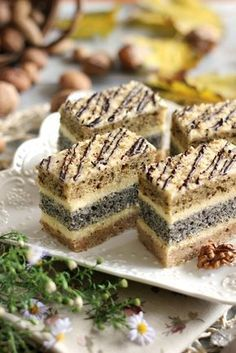 Croatian Recipes, Hungarian Recipes, Sweet Recipes, Cake Recipes, Hungarian Cake, Poppy Cake, Coco, Banana Bread, Food And Drink