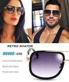 be31e2da9 Eyerno Retro Aviator Sunglasses For Men, Women. Vintage Square Designer Sun  Glasses.