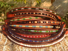 Various Bespoke Browbands in Newmarket colour leather.