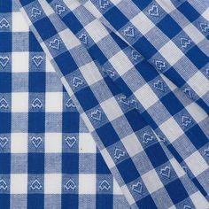 Boerenbont ruit stof, 1 cm blauw met hartjes voor gordijn wasmachine/droger