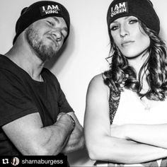 """The beautiful and talented Dancing With The Stars (DWTS) pro Sharna Burgess and her man Paul Kirkland  rocking Gratitude Couture's anti-bullying """"I AM Queen"""" and """"I AM King"""" beanies"""