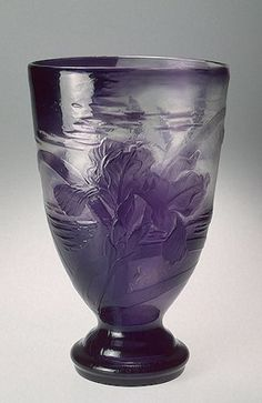 Vase decorated with irises from the workshop of Emile Gallé, 1898 (France, Nancy). Two-layered glass: clear and lilac; mould-blown, etched, engraved and hand-polished. 35.5 x 22.3 x 17.2 cm | Hermitage Museum