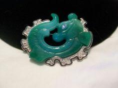 ORIENT Kenneth J Lane KJL Faux Carved ASIAN Jade Fish Dragon Brooch Pin Vintage