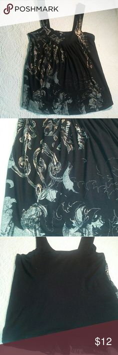 Express Tank Top Black Metallic Printing XS Black Tank Top in Black with Metallic gold print and off white design,  x-small.  Good Condition   Xno trades Xno holds   Bundle for extra savings!   I love any reasonable offers!   ☆☆☆☆☆☆☆☆☆☆☆☆☆☆☆☆☆☆ Express Tops Tank Tops