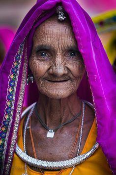 Elderly woman from a rural village near Pushkar, Rajasthan, India