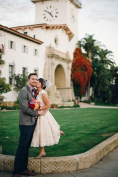 sweet elopement at mural room of the santa barbara courthouse