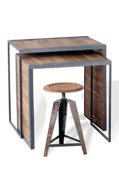 Wooden Groove Nesting Tables & Stool
