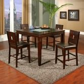 Found it at Wayfair - Lakeport 5 Piece Counter Height Table Set with Broken Glass Inserts in Espresso