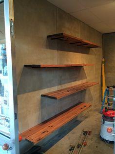 Concrete sheet and railway sleeper shelves Buildbydesign