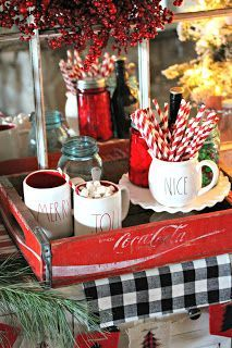 Rustic Hot Chocolate Station - Would make a nice serving tray to carry cocoa and chocolate, too.