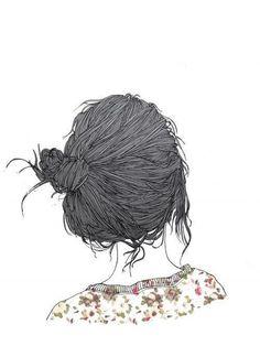 Hair, messy bun, drawing, illustration