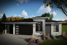 Contemporary House Plans, Contemporary Style Homes, Modern Style Homes, Ranch Style Homes, Modern House Plans, Contemporary House Designs, Ranch Homes, Prairie House, Prairie Style Houses