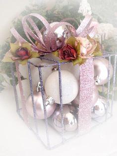 Shabby Chic Christmas Centerpiece Decoration Decor Pink. $35.00, via Etsy.