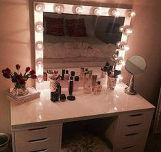 XL vanity mirror with hollywood lighting.Perfect for Ikea Cute Bedroom Ideas, Cute Room Decor, Teen Room Decor, Bedroom Decor, Ikea Vanity, Vanity Room, Vanity Decor, Vanity Ideas, Aomine Kuroko