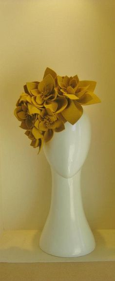 "Jill & Jack Millinery ""Miss Mustard"" headpiece. Made from French felt, stunning. $295"