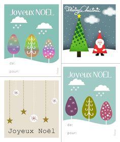 Cartes / étiquettes cadeau de NOEL à imprimer   Happiness