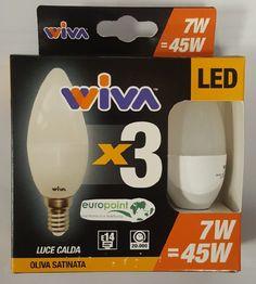 Kit 3 lampade LED basic E14 oliva 7W = 45W Wiva luca calda 3000K 540lm