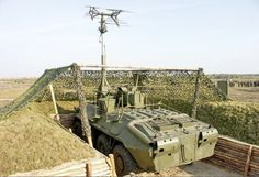 SPR-2 Rtut-B (BTR-70 chassis) proximity fuse jamming vehicle with its mast jammer deployed