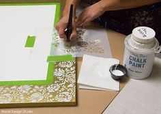Creating a stenciled border on canvas art | Stencil How-to: A Joyful Holiday Canvas | Royal Design Studio