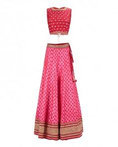 a34da9b6e3 Pink Printed Raw Silk Lengha