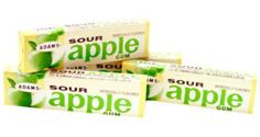 Adams Sour Apple Gum - Off the market since 1984, this classic favorite is back for more. This nostalgic sour apple chewing gum will leave your mouth watering and your mind reminiscing. Back for a limited time only this is one treat you'd better indulge in while you can! Makes an excellent stocking stuffer and is great for halloween parties!  http://www.candydirect.com/adams-gum-sour-apple-pack-of-gum-20-count