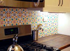 diy backsplash Temporary Backsplash A Removable Upgrade Kitchen Without Backsplash, Inexpensive Backsplash Ideas, Vinyl Tile Backsplash, Cheap Tiles, Home Improvement Contractors, Organization Hacks, Decoration, Inventions, Home Remodeling
