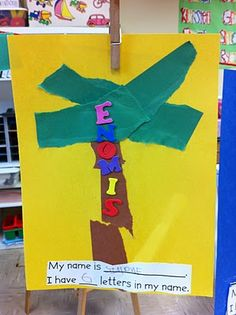 Welcome to Room 36!: fun with names and colors.  I would go a step further and sponge paint the leaves and trunk.