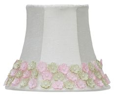 Pink & Green Flowers Border Clip-On Chandelier & Sconce Shade