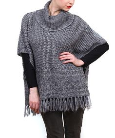 Look what I found on #zulily! Charcoal Fringe Cowl Neck Poncho #zulilyfinds