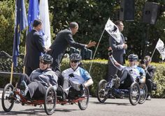 """President Obama Honors Wounded Warriors At the Whitehouse ...    """"You inspire me with your courage, your resolve, your resilience, your tenacity, your optimism. It makes me proud to be your Commander-in-Chief."""" —President Obama at the Wounded Warrior Project's Soldier Ride. 4/17/14"""