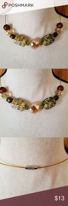 Breaded round necklace These beads describe fall.   It is light weight necklace.  It is 20 1/2 round. Jewelry Necklaces