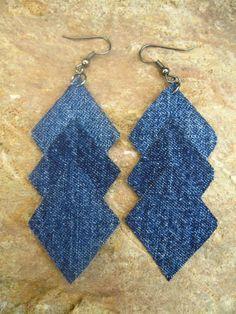 handmade denim earrings - Google Search