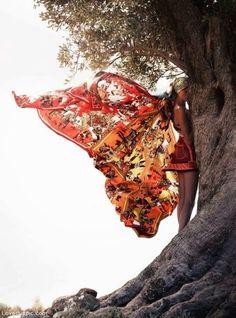 Human Butterfly photography dress butterfly woman scarf wind blown