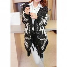 $14.46 Fashionable Style Contrast Color Argyle Pattern Tassel Long Sleeve Sweater For Women