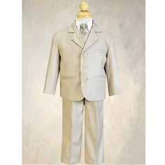 Little Boys Khaki Special Occasion Wedding Easter 5pc Suit Set 12M-14