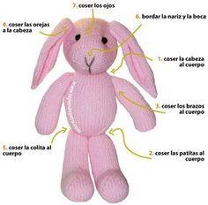 conejos tejido en dos agujas o palillos - knitted rabbit (bunny)