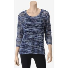 MI-170319-002B70-A%3F%24zm%24 Best Deal United States Sweaters Marled Open Knit Sweater  Misses  Blue  XL  US Sweaters