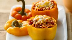 Stuffed bell peppers packed with turkey, pepperoni and pasta - slow cooked for a cheesy dinner.
