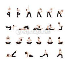 Set de photos de femme enceinte, faire des exercices isolés sur fond blanc