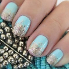 Easy gradient glitter nail art with mint and gold nail polishes