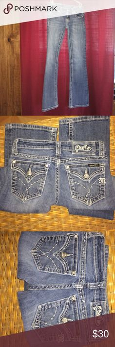 Miss me jeans Love theses!!! I wear them with boots!! Dress em up or dress em down!! Cute fun fitted! Low cut in waist! Gently worn no stains no holes lil cuffin on the bottoms nothing major! Miss Me Jeans Boot Cut