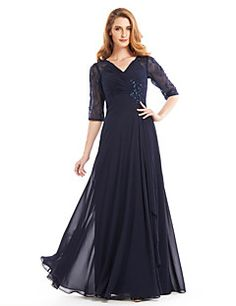 A-line Mother of the Bride Dress Floor-length Half Sleeve Chiffon with Beading / Criss Cross – USD $ 119.99