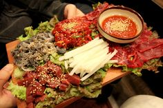 a raw liver & compound leaf & yukhoe, Korean-style raw beef
